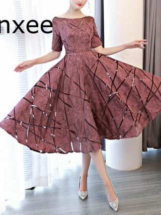 Xnxee Luxury O-Neck Half Sleeve Embroidery Zipper Dresses A-line Tea Length Formal Dress Vestido de novia