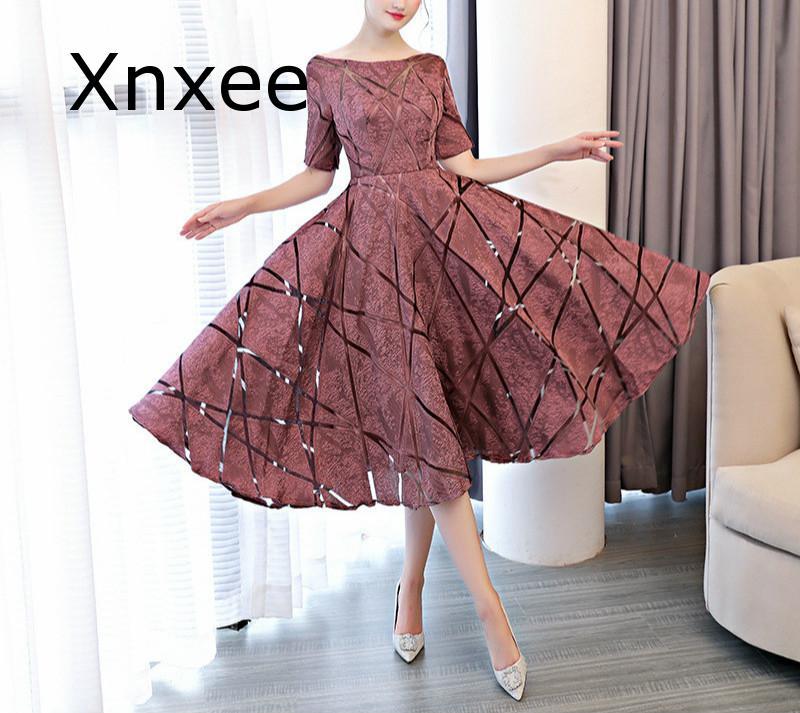 Xnxee Luxury O-Neck Half Sleeve Embroidery Zipper Dresses A-line Tea Length Formal Dress Vestido de novia