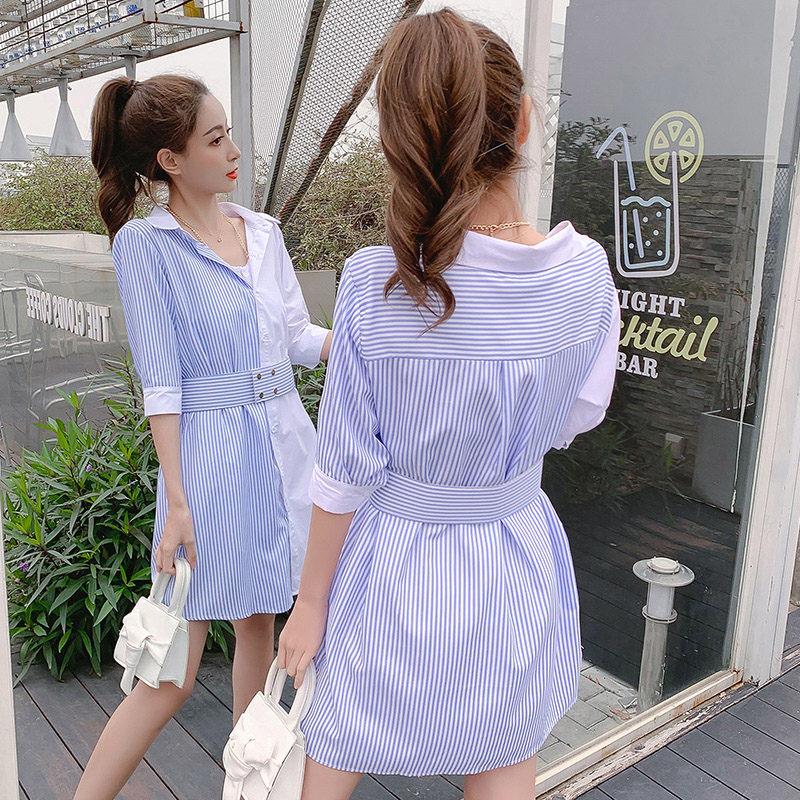 Stripe Patchwork Fashion Shirt Dress Women Summer Elbise New Dress Shirt V neck Half Sleeve Dresses Casual Korean Vestidos f359 2