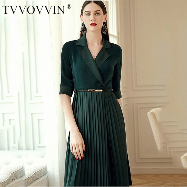 TVVOVVIN 19 Autumn Winter Woman Temperament Solid Green Color Notched Half Sleeve Adjustable Waist Long Pleated Dress M94