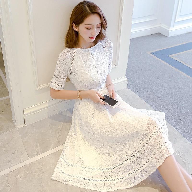 Lace Half Sleeve Retro Summer Flower White Dress Women Hollow Out Knee-Length Slim Elegant Refined Evening Party Dress Vestidos 1