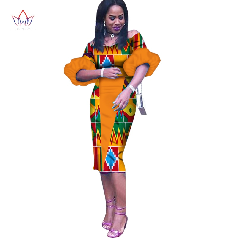 Customized African Print Clothing Half Sleeve Knee Dress Summer Women Party Dresses Plus Size African Clothing 6XL BRW WY1243 1