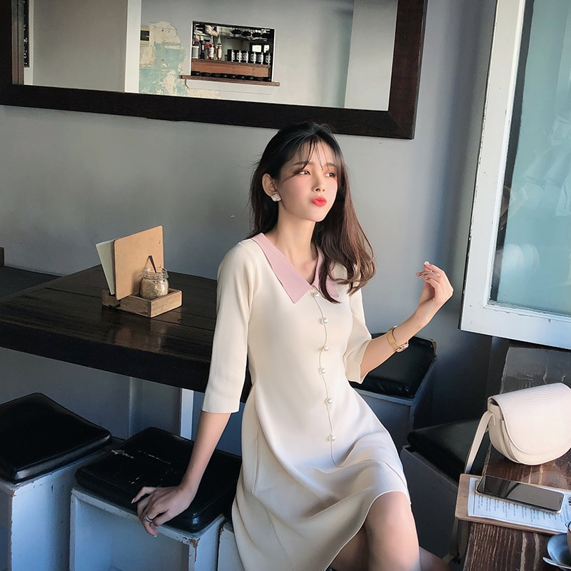 Mishow 19 Autumn Women's Knitted Dress Korean Solid Sweety Slim Fit Half Sleeve Mid-length Dresses Elegant Vestidos MX19C1308 3