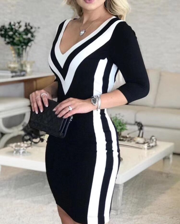 Winter Style  Sexy Half Sleeve Patchwork Bandage Dress Designer Fashion Evening Party Dress Vestido 2