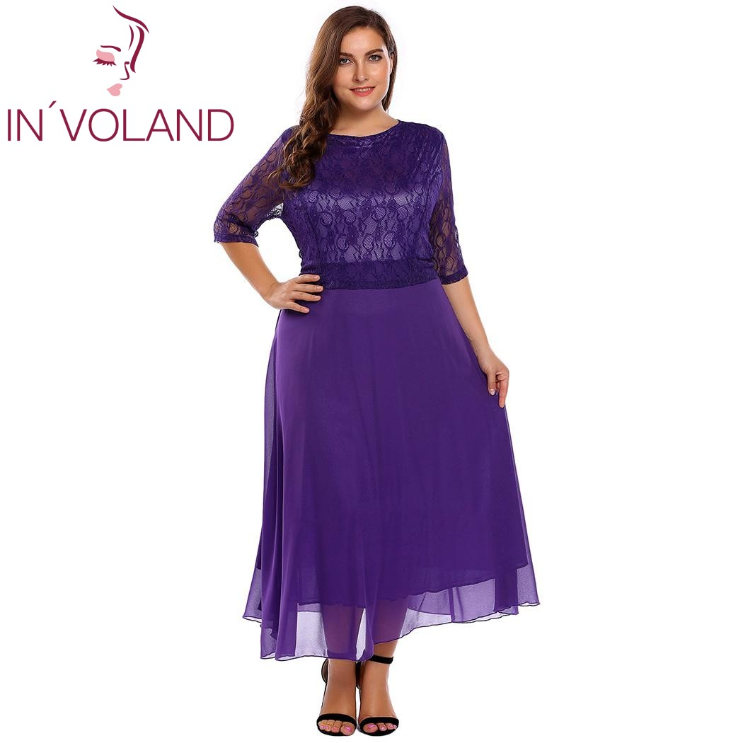 IN'VOLAND Women Lace Dress Plus Size Summer Autumn O-Neck Half Sleeve Patchwork Slim A-Line Dresses Feminino Vestidos Big Size