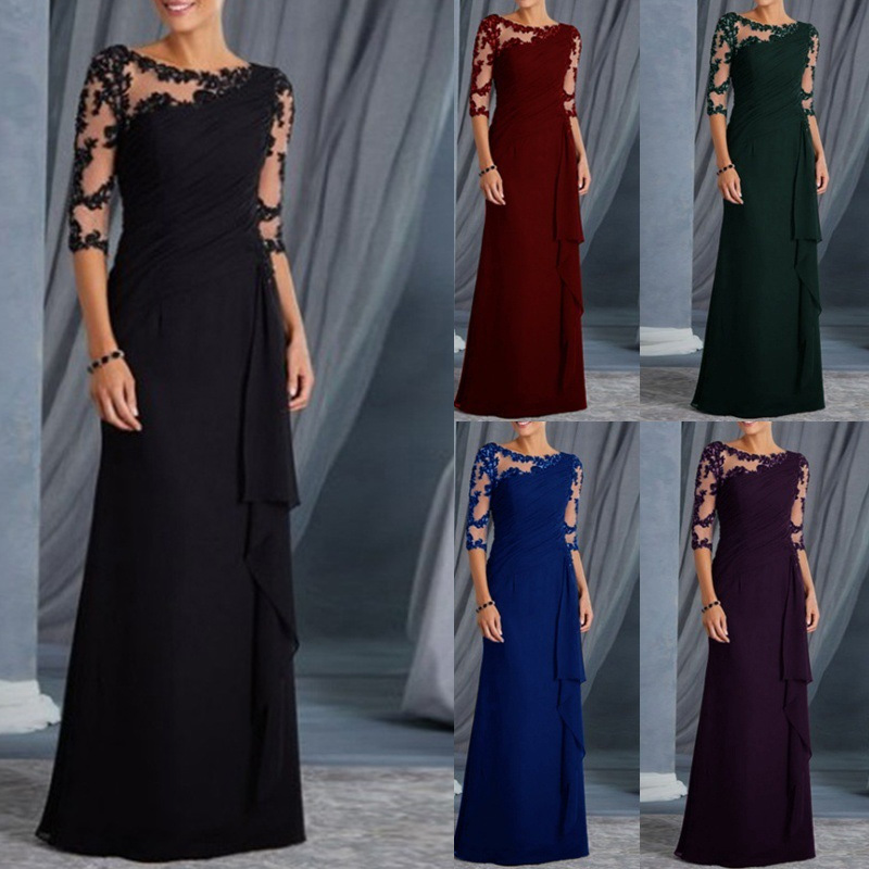 Women fashion Dress Lace Half Sleeves Round Neck Slim Fit Female Formal Gown H9