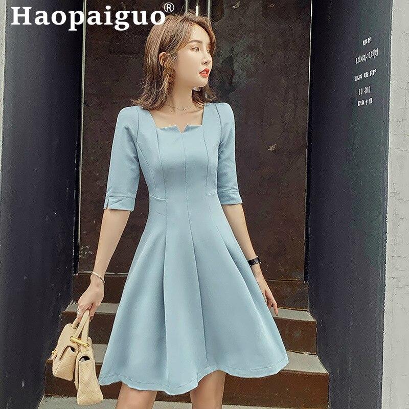 Empire Big Swing OL Office Dress Women Square Collar Half Sleeve Casual Ladies Dress Loose Short Party Dress Vestidos De Verano 1