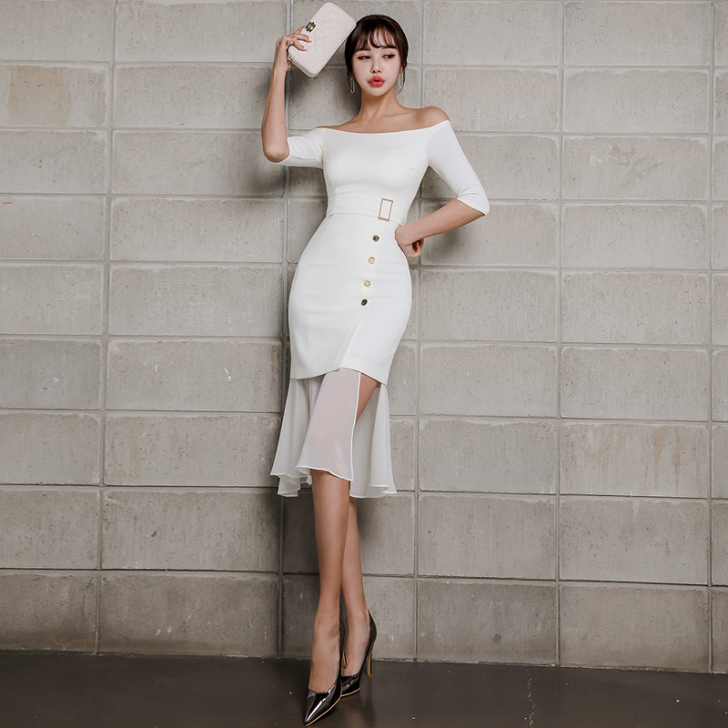 Chiffon Patchwork Slash Neck Wrap Dress Summer 19 Half Sleeve Casual Office Work Dress Women Trumpet Midi White Dresses Women 2