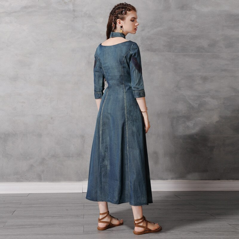 Autumn Denim Dress Women Half Sleeve Floral Embroidery Vintage Jeans Dresses Ladies Stand Collar A Line Long Retro Denim Dresses 2