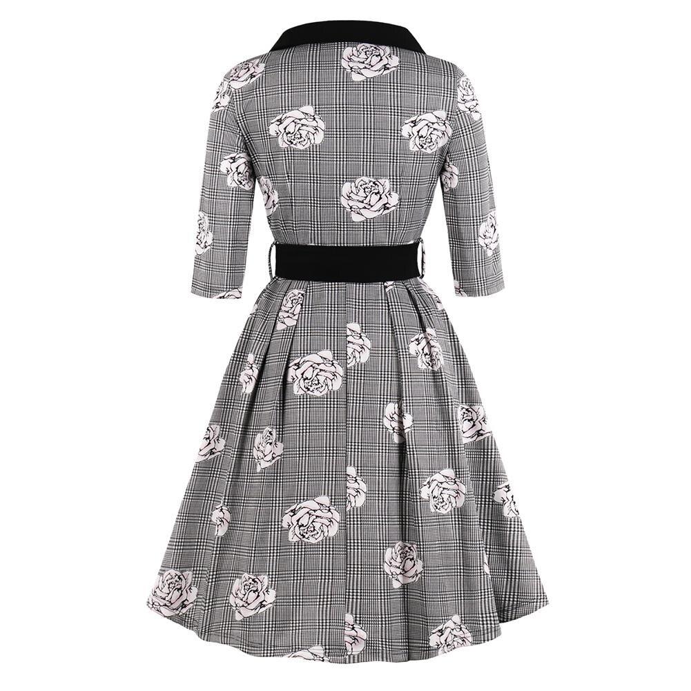 New Autumn Women's Vintage Flare Dress Bow Tie Belt Slim Plaid Rose Print Half Sleeves Dress Plus Size Large Swing Elegant Dress 2