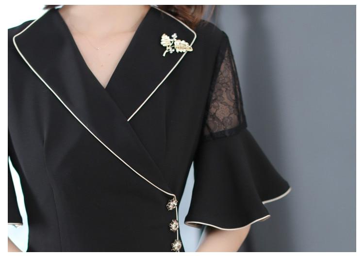 Fall Summer Elegant Women Suit 17 Ruffle Half Sleeve Lace Patchwork Black Dress , Office Lady Female Slim Xxl Button Dresses 3