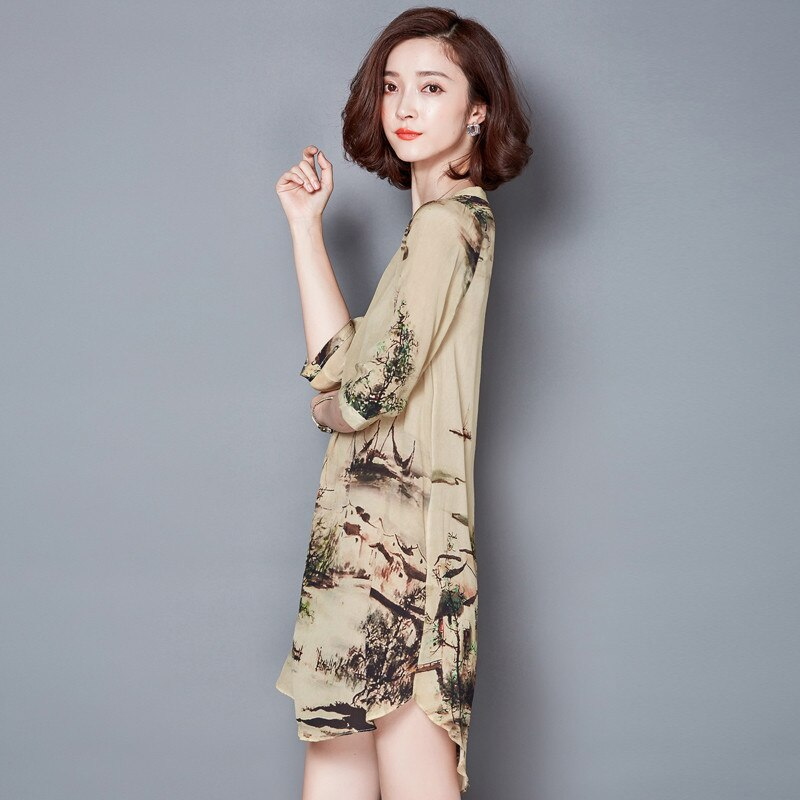 19 V-neck Vintage Silk Dress Half Sleeve Printing Floral Dress Women Summer Dresses Casual Plus size 4XL Vestidos Mujer FYY344 3