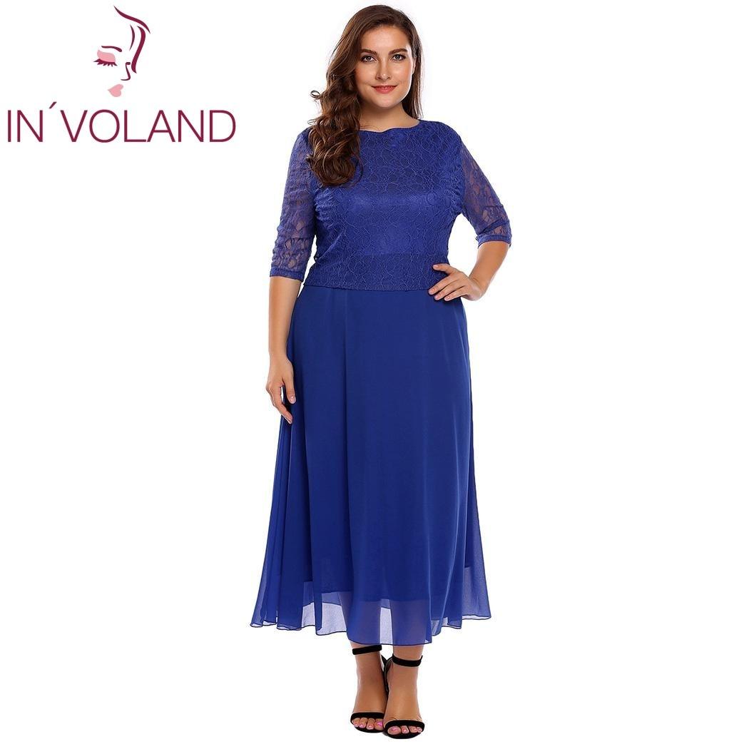 IN'VOLAND Women Lace Dress Plus Size Summer Autumn O-Neck Half Sleeve Patchwork Slim A-Line Dresses Feminino Vestidos Big Size 2