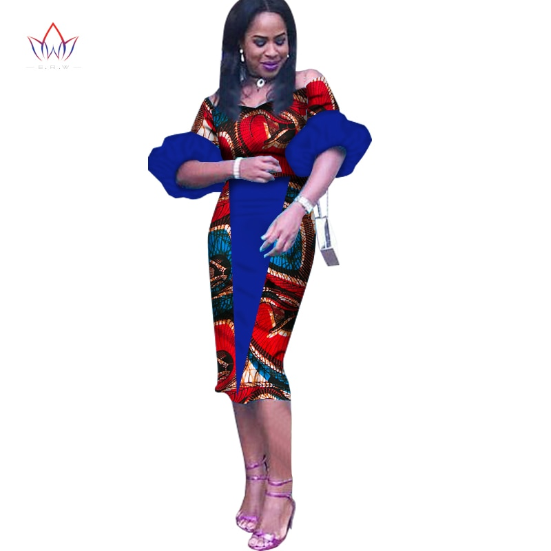 Customized African Print Clothing Half Sleeve Knee Dress Summer Women Party Dresses Plus Size African Clothing 6XL BRW WY1243 2