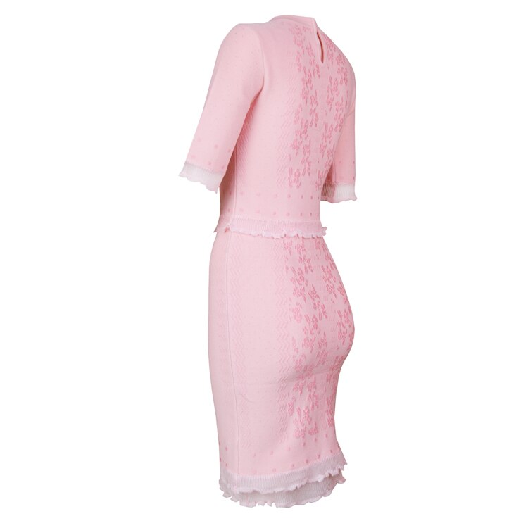 TOP Quality Vestidos Women Summer Dress Sexy Half Sleeve Jacquard Pink Bandage Dress Elegant Party Dress 2