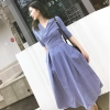women Elegant office lady Striped half sleeve Shirt Dress v-neck Sleeve knee-length slim a-line Dress With Belt