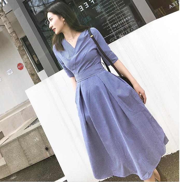 women Elegant office lady Striped half sleeve Shirt Dress v-neck Sleeve knee-length slim a-line Dress With Belt