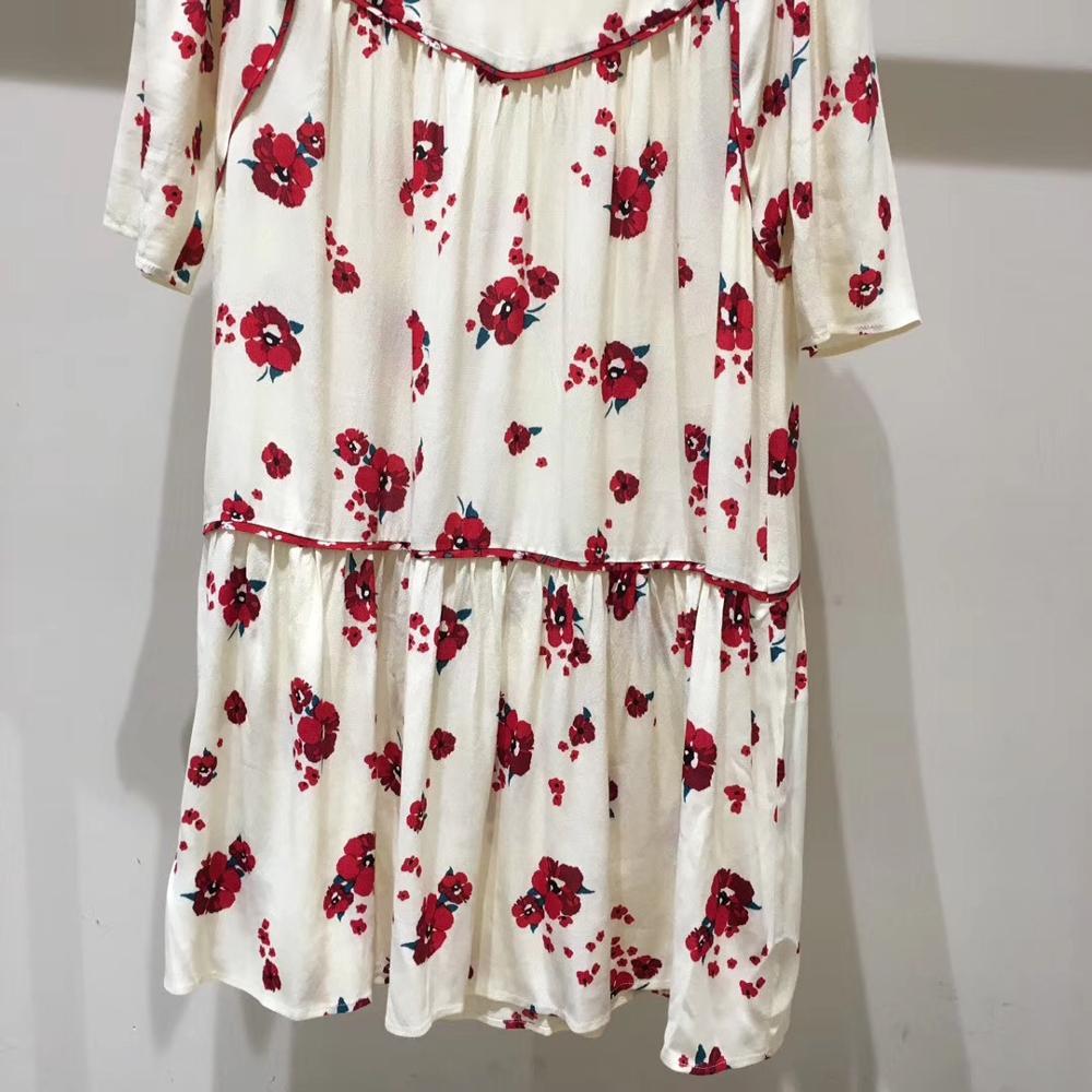 Women Half Sleeve Loose Mini Dress Red Flower Print V Neck High Waist Summer Dress 2