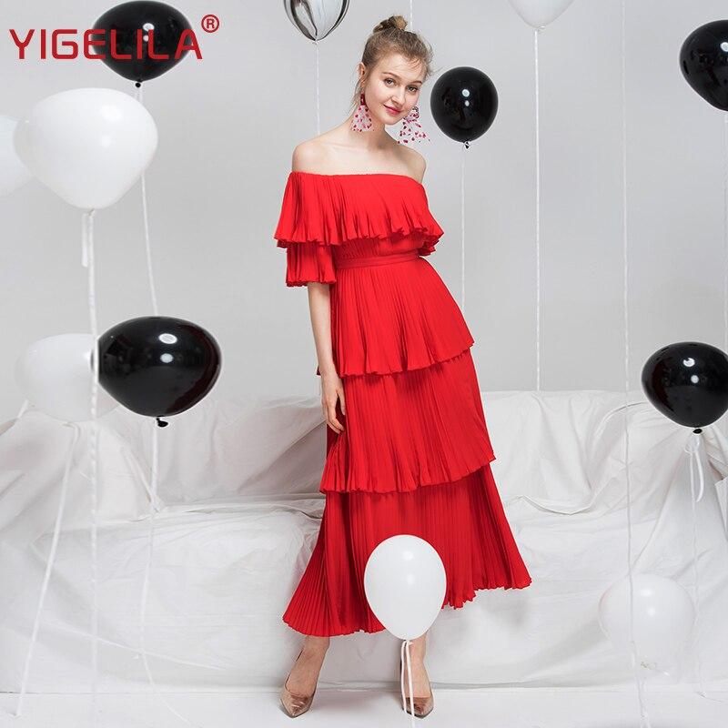 YIGELILA Women Red Pleated Long Dress Fashion Slash Neck Off Shoulder Half Sleeve Empire Slim Draped Party Dress XL Size 63660 2