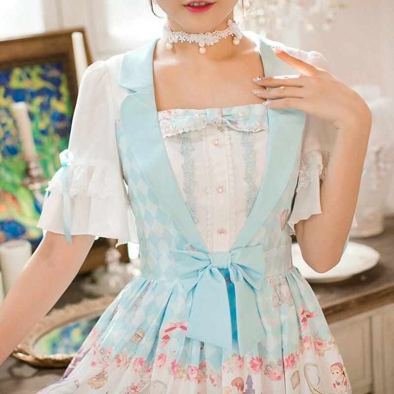 Princess sweet lolita Candy Rain dress Printing chiffon dress, Sweet Navy style Princess A-Line Half sleeved dress C22AB7159 2