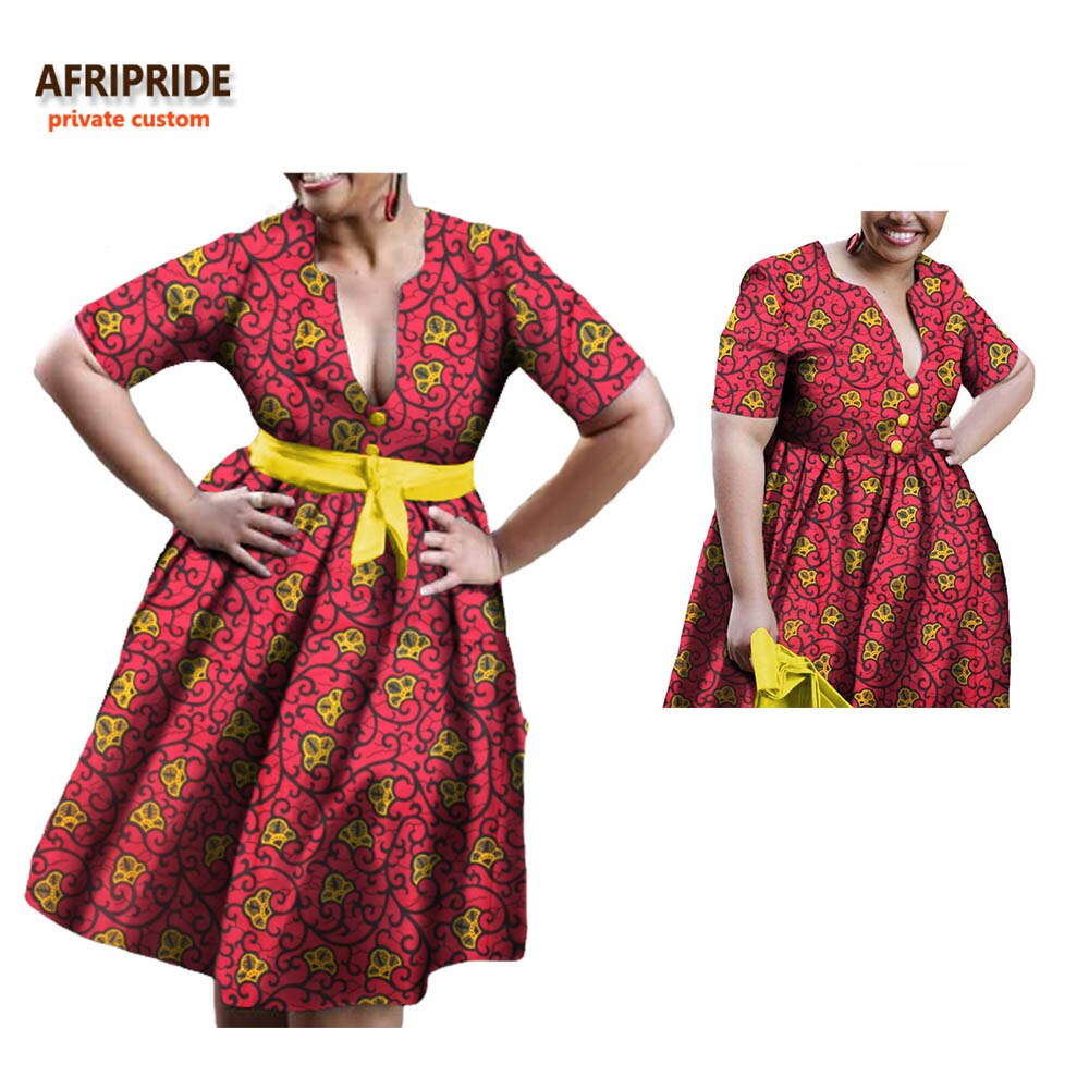 19 african A-line autumn dress for women AFRIPRIDE half sleeve V-neck knee-length casual women cotton dress with sashesA722598