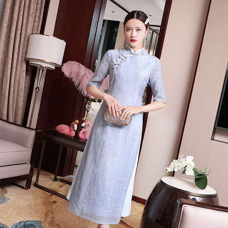 Vintage Long Dress Women Spring And Summer Chinese Traditional Cheongsam Stand Collar half sleeve Elegant Dress Plus Size S-2XL