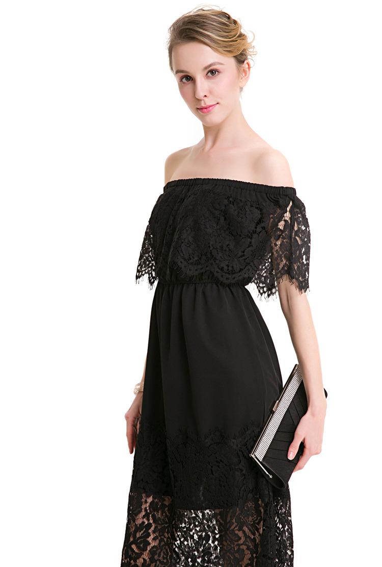 17 New Women Dress Slash Neck Lace Half Sleeve Dress Tall Waist Slim Ladies Hollow Out Womens Evening Long Dresses Elegant 3