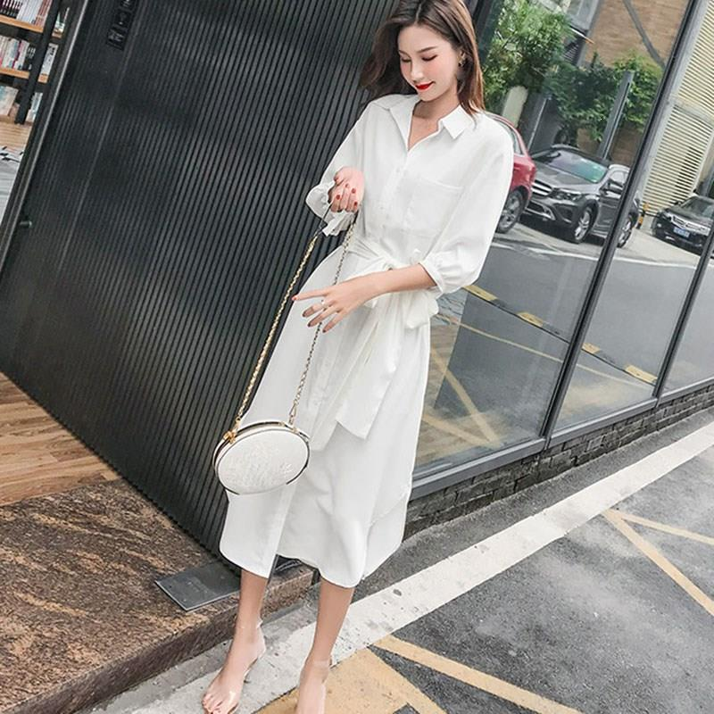 19 Fall Women Solid Turn-Down Collar Shirts Dresses A-Line Casual Pocket With Belt Loose Dress Half Sleeve Midi Dress 3