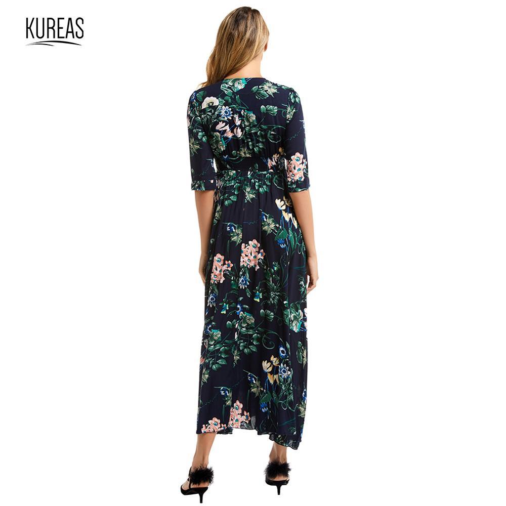Kureas Chiffon Maxi Dress Women Fashion Floral Printed Half Sleeve Long Dresses Single Breasted Button Decor 3