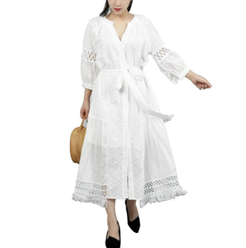 Half Sleeve Embroidery Hollow Bandage Summer Dress For Women Tunic Lace Lantern Sleeve Irregular Dresses For Women Women 1