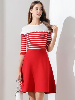 Women Dress Autumn and Winter Knitted Sweater Dresses Half Sleeve A-line Ruffles High Waist Striped Casual Dresses TS05