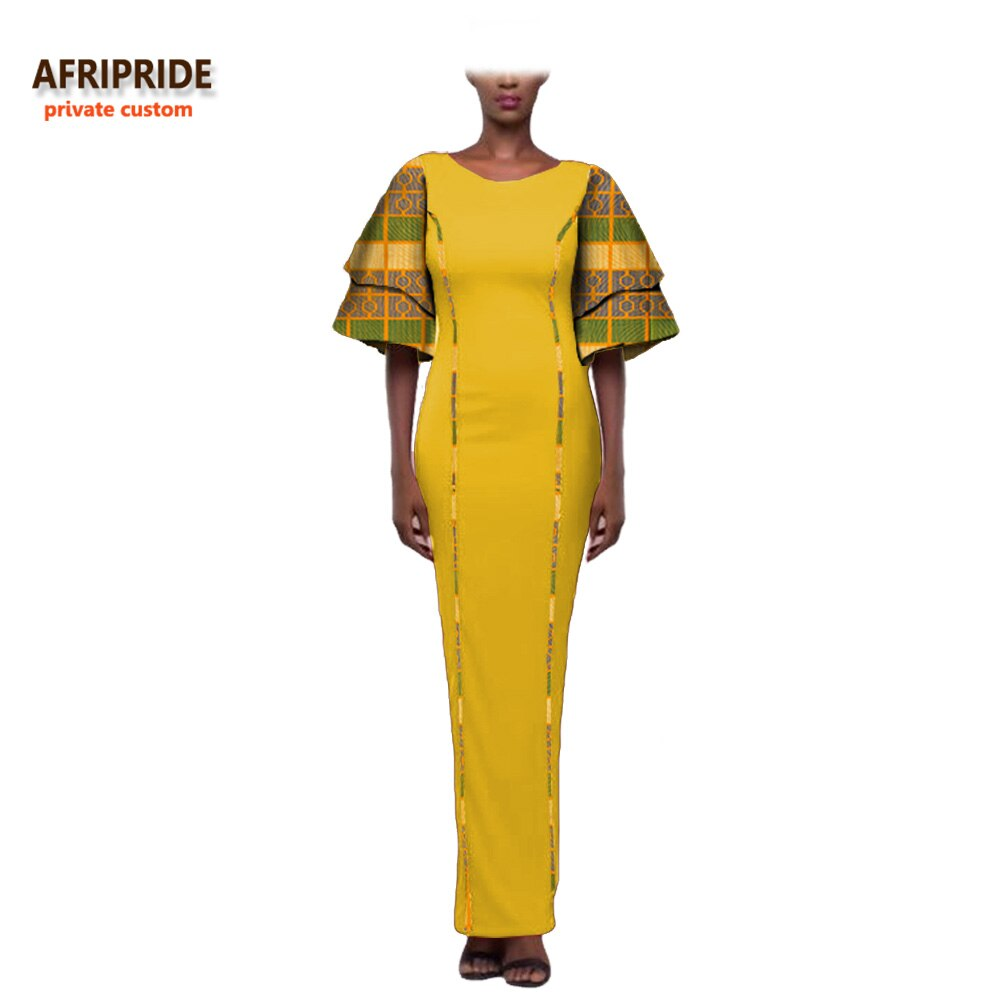 19 african style autumn dress for women AFRIPRIDE private custom wide half sleeve ankle length dress 100% batik cotton A722574 1