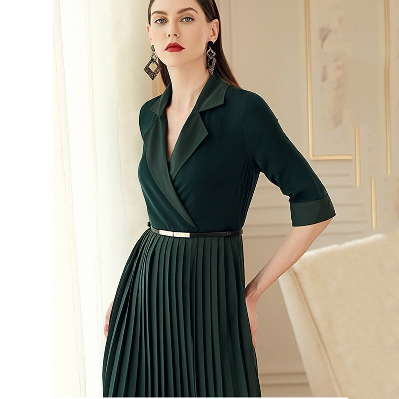 TVVOVVIN 19 Autumn Winter Woman Temperament Solid Green Color Notched Half Sleeve Adjustable Waist Long Pleated Dress M94 2