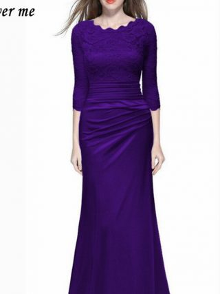 Dower Me Women Vestidos Half Sleeve Solid Lace A-Line Party Dress Y072 O-Neck Floor-Length Zipper Ruched Women Dress