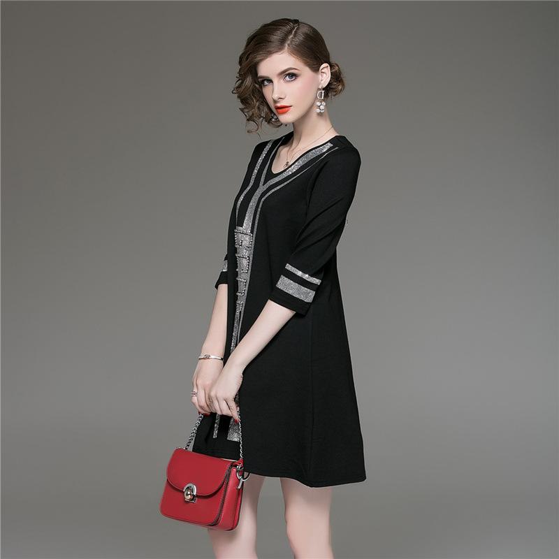 M-XXXL Plus Size Black A-Line Casual Dress Women V-neck Half Sleeve Elegant Mini Dress Women Loose Vintage Office Ladies Dresses 3