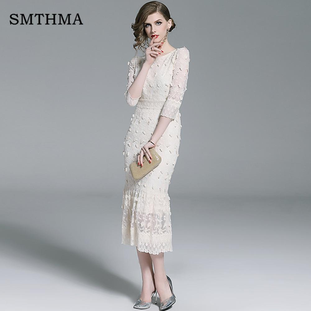 SMTHMA 19 New Embrodery Mesh Long Dress Women Spring Half Sleeve Dresses High Waist Trumpet Mermaid Dress Vestido 1