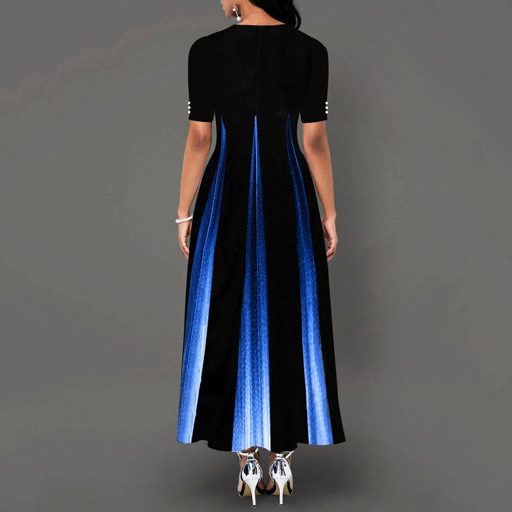 Maxi Elegant Party Dress Women Half Sleeve Floral Ankle-Length Female Black Summer Ladies Dress A-line Long Dress robe femme 3