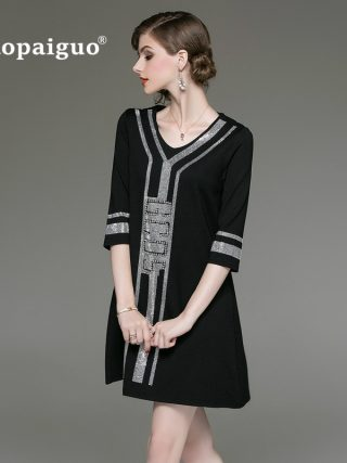 M-XXXL Plus Size Black A-Line Casual Dress Women V-neck Half Sleeve Elegant Mini Dress Women Loose Vintage Office Ladies Dresses