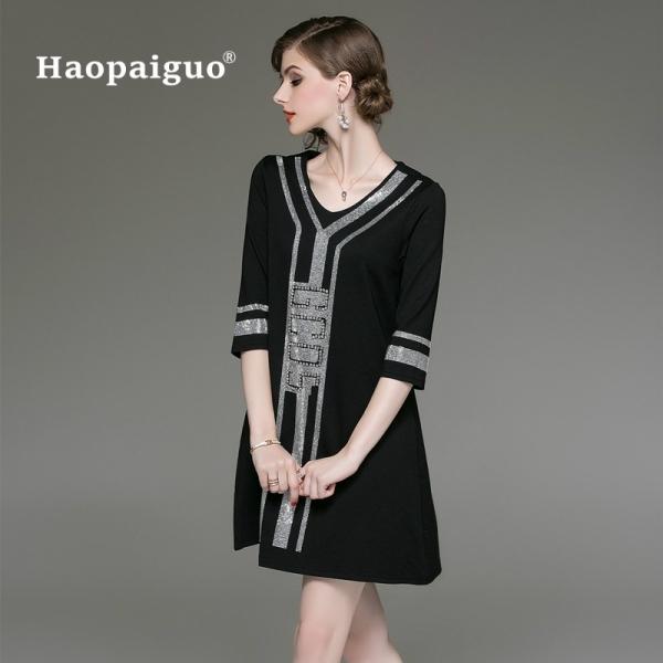 M-XXXL Plus Size Black A-Line Casual Dress Women V-neck Half Sleeve Elegant Mini Dress Women Loose Vintage Office Ladies Dresses