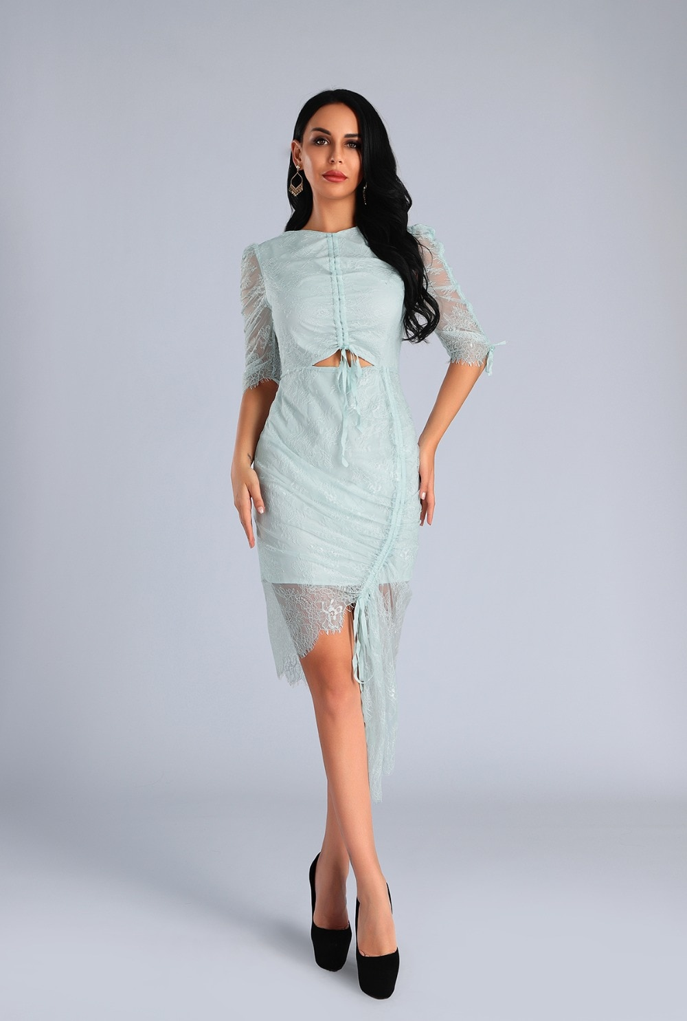High Quality Light Blue O-Neck Half Lace Sleeve Bodycon Dress Fashion Party Elegant Dress 1