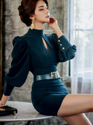19 New Modis Solid Vintage Dress Women with Shashes Backless Sexy Dress Women Half Turtleneck Puff Sleeve Mini Runaway Dress