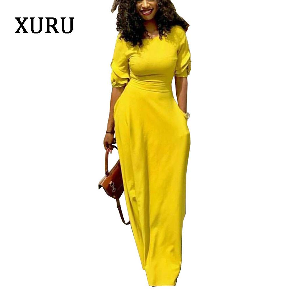 XURU 19 Autumn Pencil Dress Black Yellow Red Half Sleeve Slim Waits Pockets Long Dresses Elegant Lady Casual Party Dress