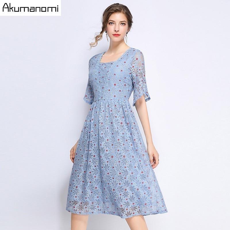 Summer Dress Women 19 Hot Plus Size 5xl Blue Square Collar Half Sleeve A-line Dot Lace Party Dress Vestidos Robe Longue Femme 3