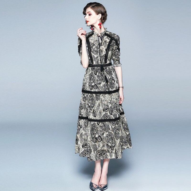 Vintage Print Lace Patchwork Chiffon Long Dress Women 19 Summer Lace-up O Neck Half Sleeve Ladies Dresses Casual Vestidos 3
