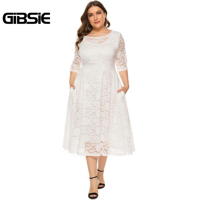 GIBSIE Plus Size Women Elegant O-Neck Half Sleeve Lace Dress Black White Evening Party Dresses Female Pocket A-line Long Dress 1