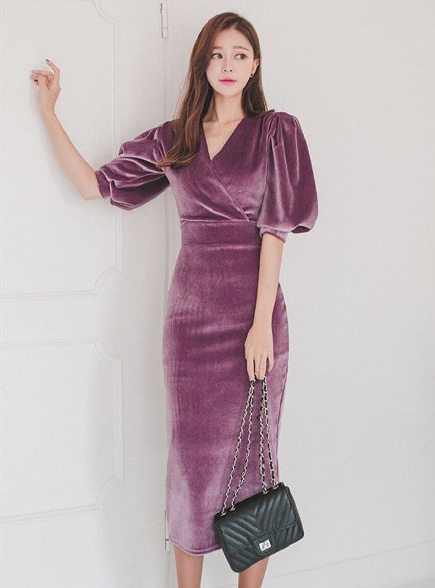 HAMALIEL High Quality Velvet Half Pull Sleeve Pencil Dress 19 Fashion Spring Women Sheath Bodycon OL Dress Slim Party Dress 2