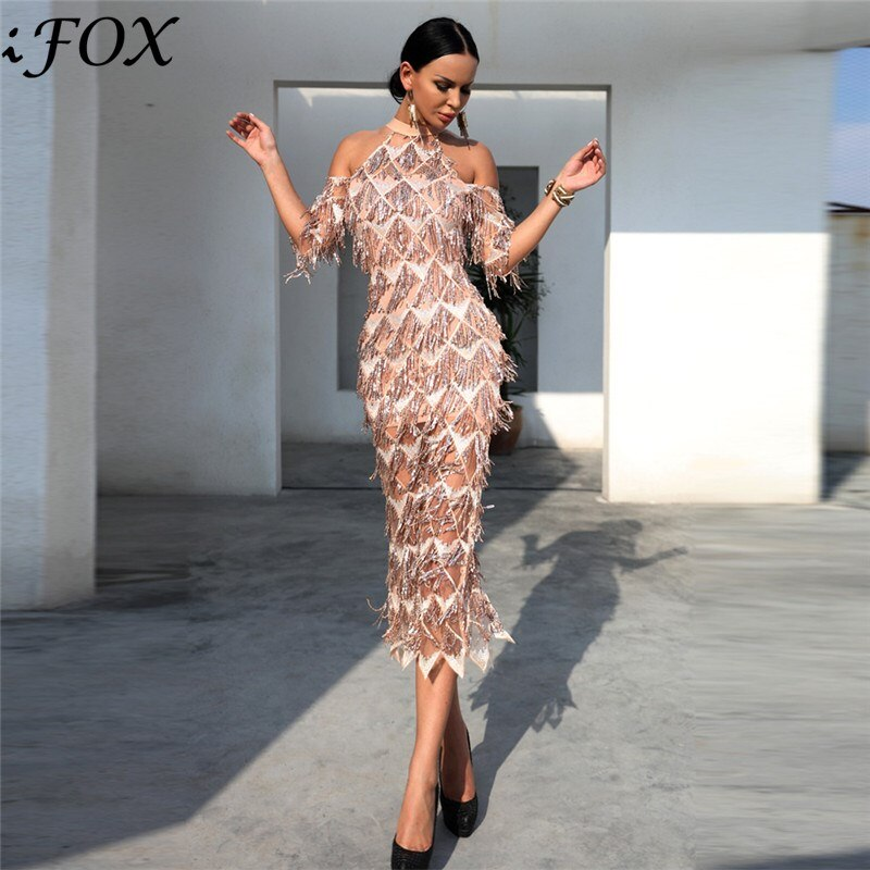 IFox  Charming Halter Neck Tassel Sequined Women Dress Elegant Half Sleeve Female Party Dress Vestdios WD9121701 1
