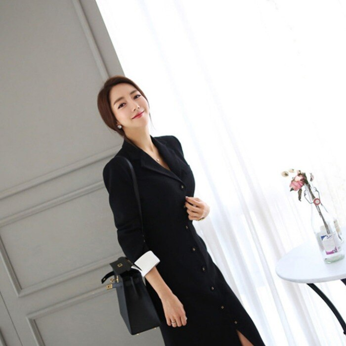 Autumn New Arrival Women OL style A-line knee-length Casual half sleeve slim vestidos office lady black professional dress 3