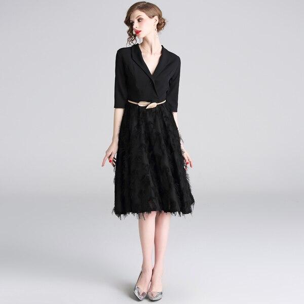 Feathers Patchwork Black A-line Office Dress 19 Spring Women Half Sleeve Notched Formal Dress Female Tassel Dress With Belt 2