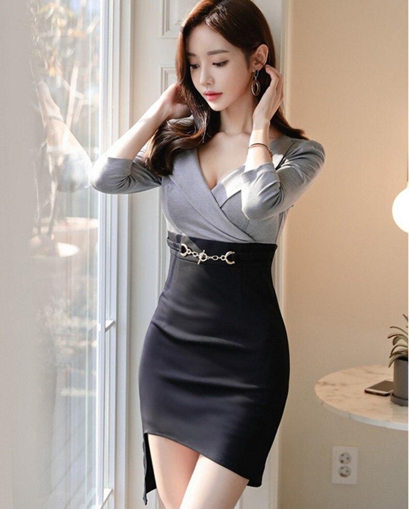 19 Korean version of the new OL temperament V-neck Slim thin bag hip irregular half sleeve women's dress 2